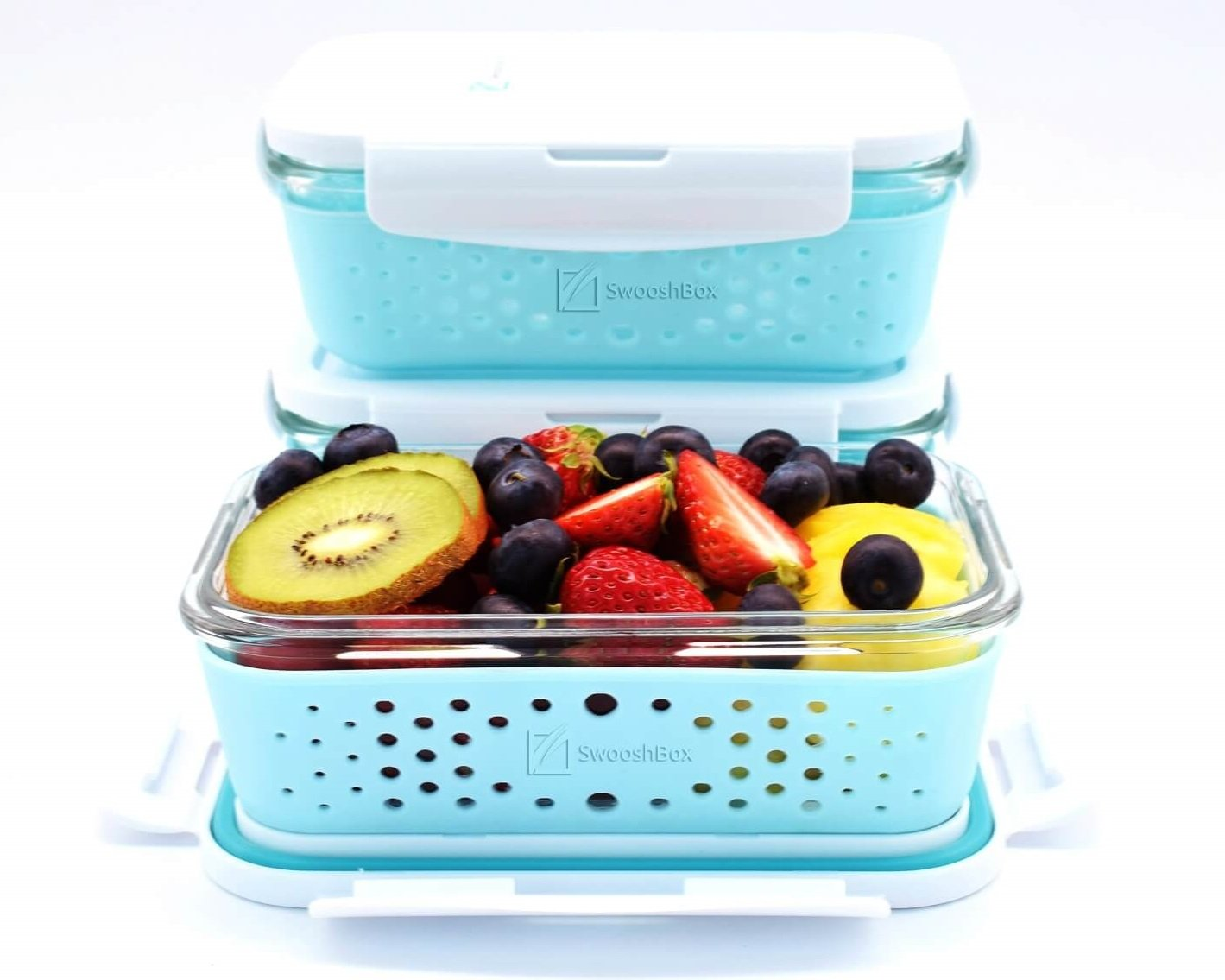 SwooshBox Premium Storage Glass Food Container Set Rectangular Non-slip Silicone Sleeve Shield Containers - 3 Piece 28 Ounce (3.5 cup), BPA-free, Leak Proof, Microwave, Oven, Freezer & Dishwasher Safe