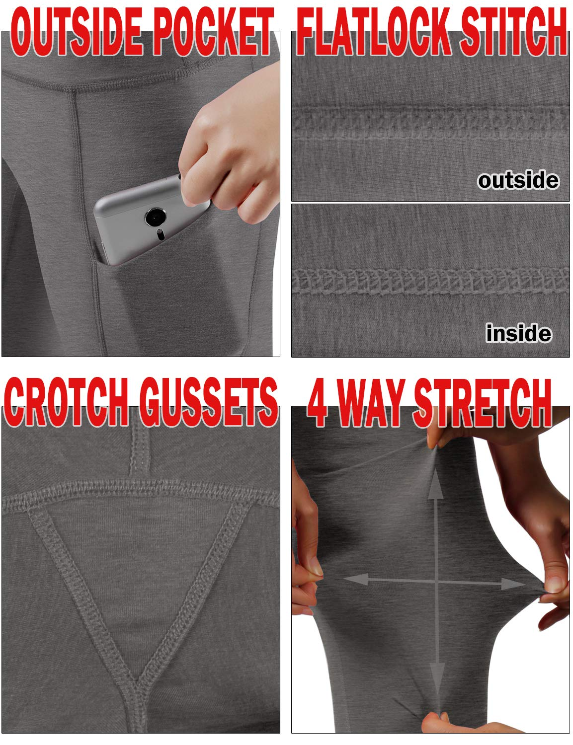 ODODOS High Waist Out Pocket Yoga Capris Pants Tummy Control Workout Running 4 Way Stretch Yoga Leggings,Gray,X-Small by ODODOS (Image #6)