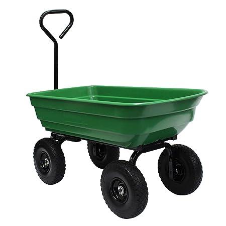Garden Star 70275 Garden Wagon Yard Cart with Flat Free Tires, 37 x 20 Poly Tray, 600lb capacity