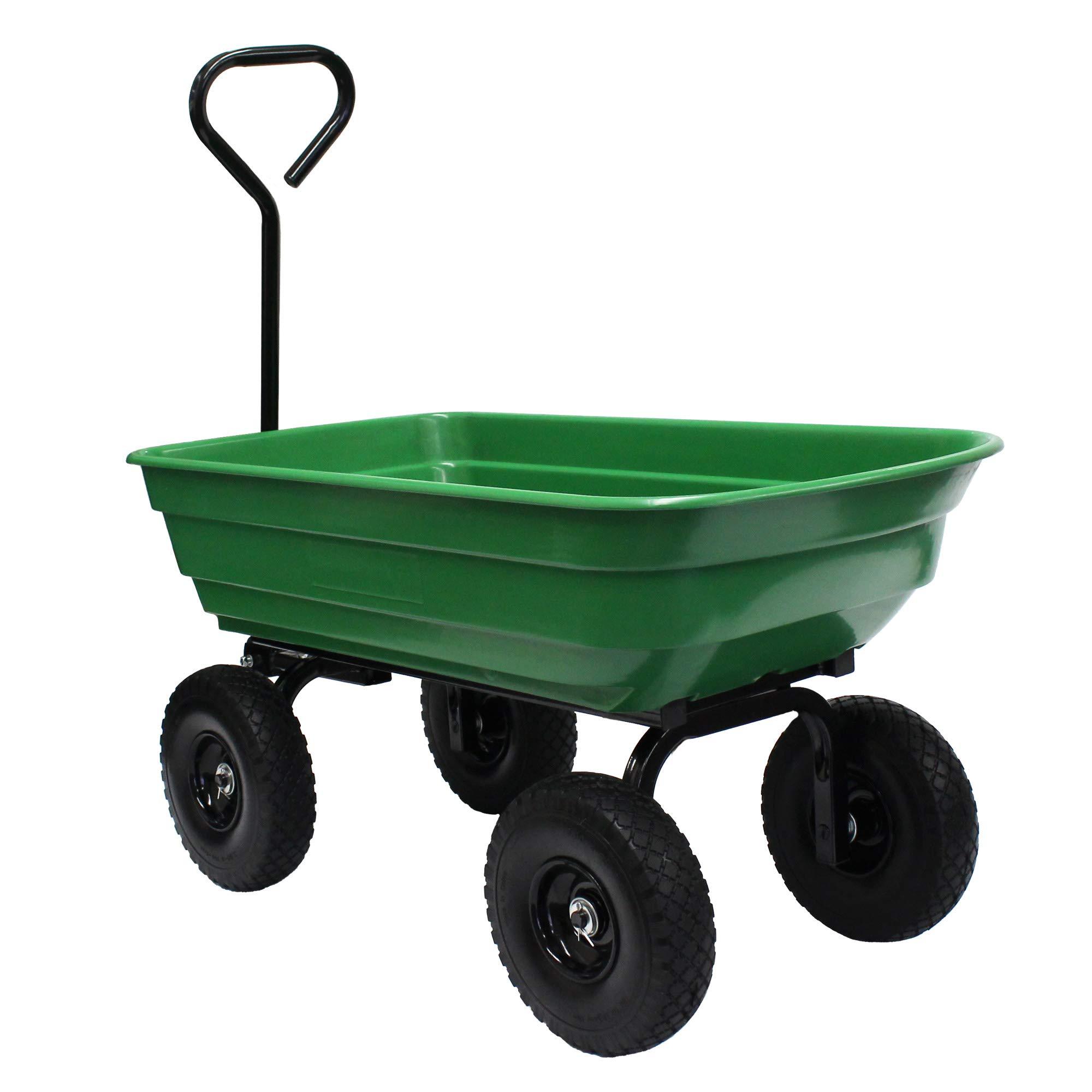 Garden Star 70275 Garden Wagon/Yard Cart with Flat Free Tires, 37'' x 20'' Poly Tray, 600lb Capacity