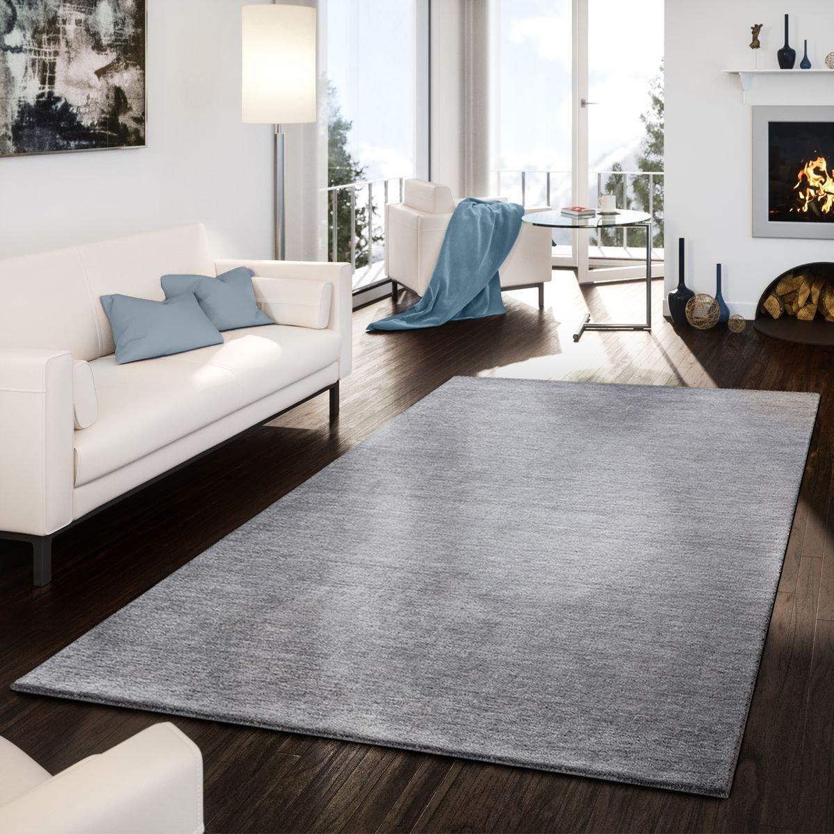 T&T Design Teppich Handgemacht Modern Edel Gabbeh Schlicht Leicht Meliert In Grau, Größe 160x230 cm