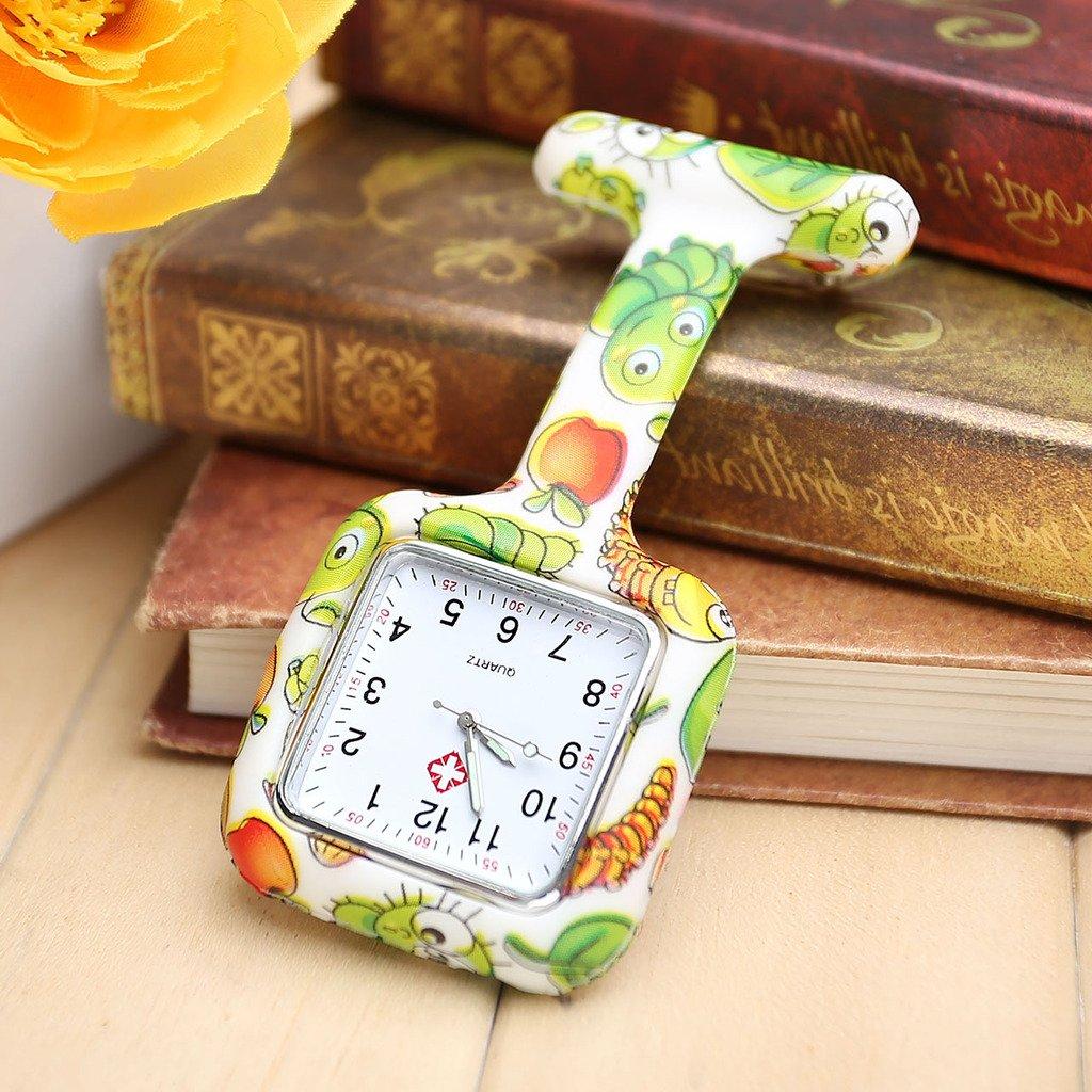 JSDDE Uhren,Krankenschwester Taschenuhr FOB-Uhr Damen Silikon Tunika Brosche Quadrat Schwesternuhr Analog Quarzuhr(Gruen Muster)