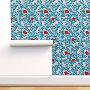 Peel-and-Stick Removable Wallpaper - Shark Attack Summer Sharks Beach Decor Japan Waves Fish Wave Nursery by Momshoo - 24in x 72in Woven Textured Peel-and-Stick Removable Wallpaper Roll