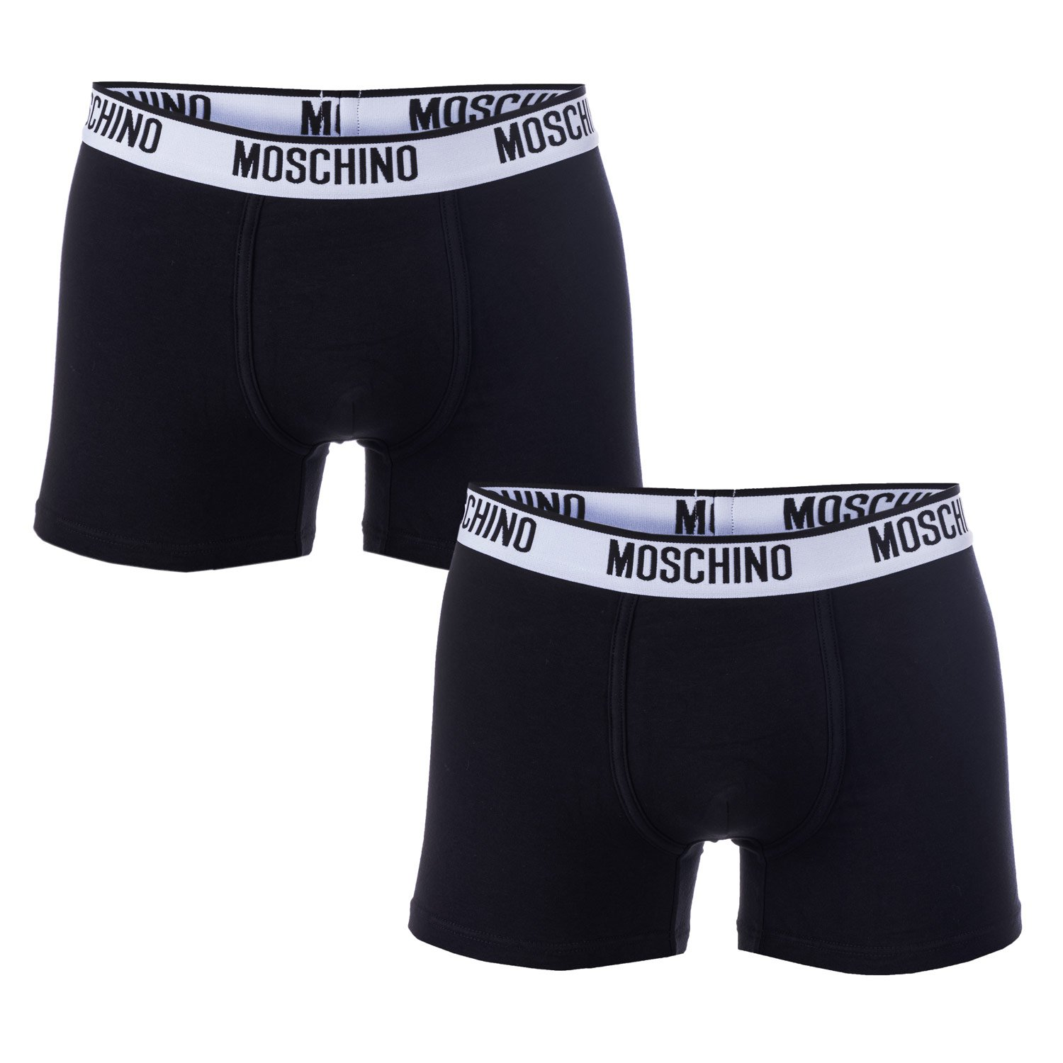 Moschino Mens 2 Pack Boxer Shorts in Black- Set Comprises 2 Pairs Boxer Short