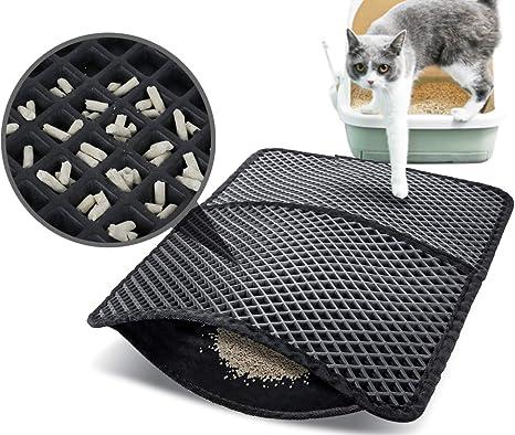 Pecute Estera de Arena para Gatos Impermeable Cat Litter Mat Alfombra de Basura Rascadores Litter Trapping Mat Doble Capa no Tóxico Antideslizante ...