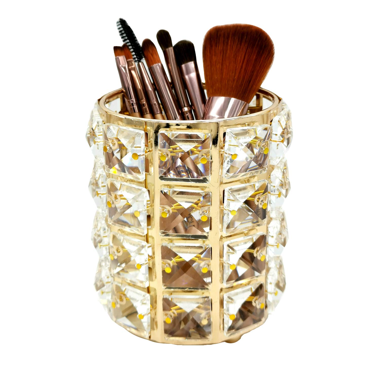 WILTEEXS Makeup Brush Holder Crystal Makeup Organizer Cosmetics Container Storage for Brushes Lipsticks (Gold)