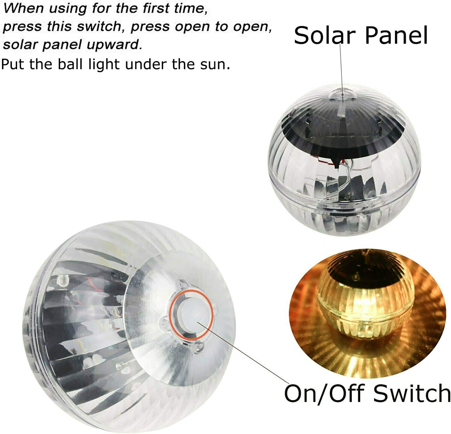 Youlaify Solar Powered Floating Pond Light Garden Swimming Pool Color Changing LED Lamp