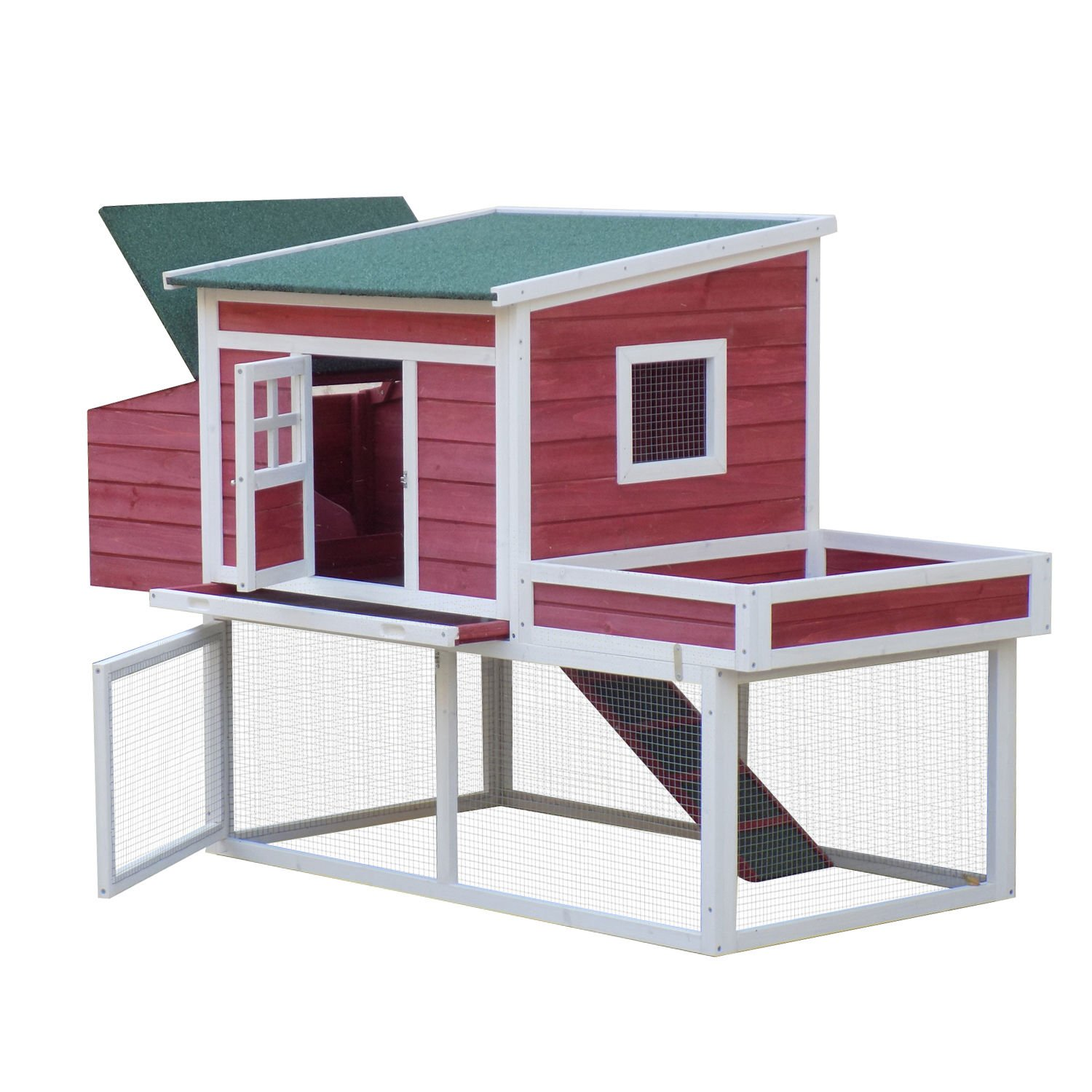 Pawhut 67'' Wooden Chicken Coop Poultry Cage Hutch with Garden Box, Run Area and Nesting Box