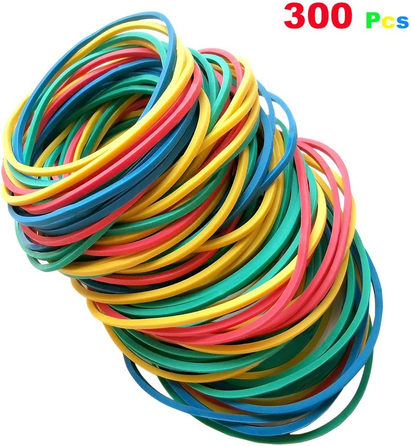 KeLiTi 300pcs Multi Color Rubber Bands Stretchable Elastic Bands Sturdy Rubber Bands for School Home and Office use Stationery Supplies 50mm(2inch)