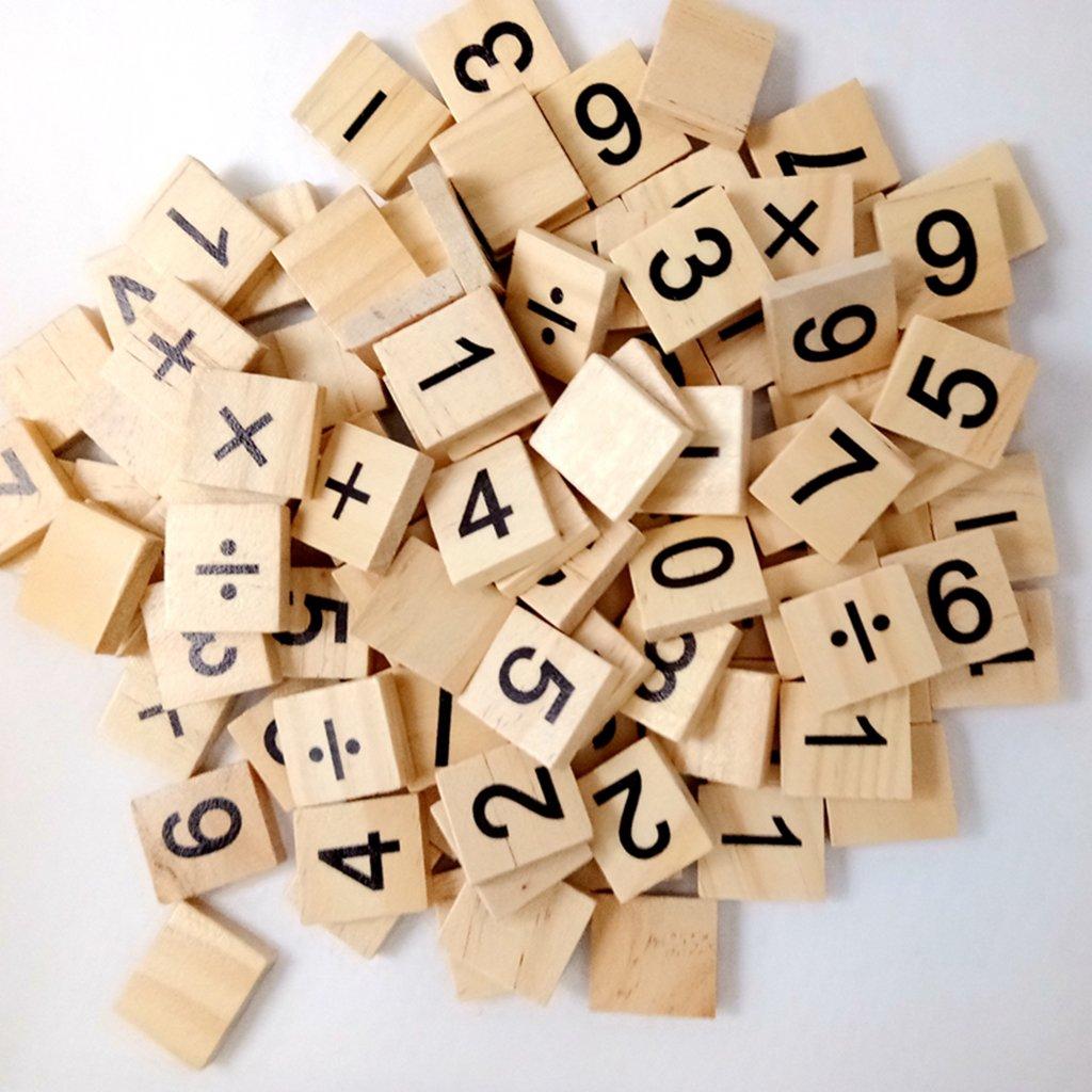 100 Stücke Holzpuzzles Zahlen Zahlen Schwarz Buchstaben Cube Blöcke