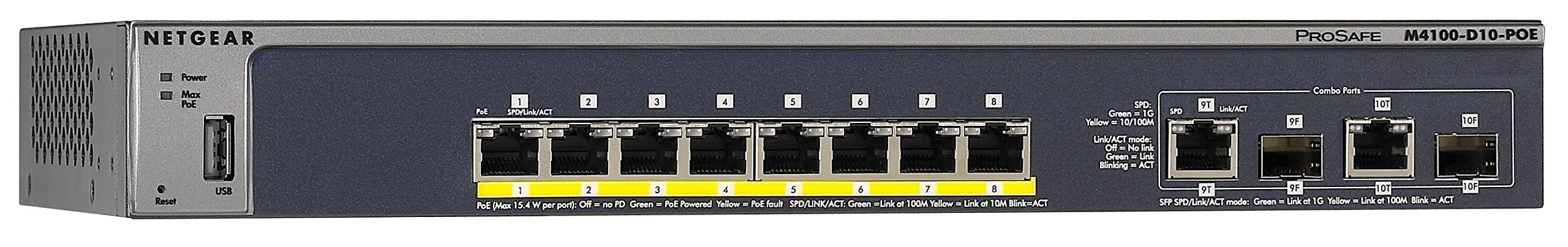 NETGEAR ProSAFE M4100-D10-POE 8 Port Fast Ethernet Managed Switch w/ PoE 10/100 Mbps by NETGEAR