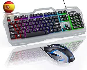 M-T-K, combinación de Mouse, Diseño español,con Teclado para Juegos con Cable, retroiluminación RGB, (12 Teclas Multimedia), Mouse de PC de 6 Botones para PC con Windows: Amazon.es: Electrónica