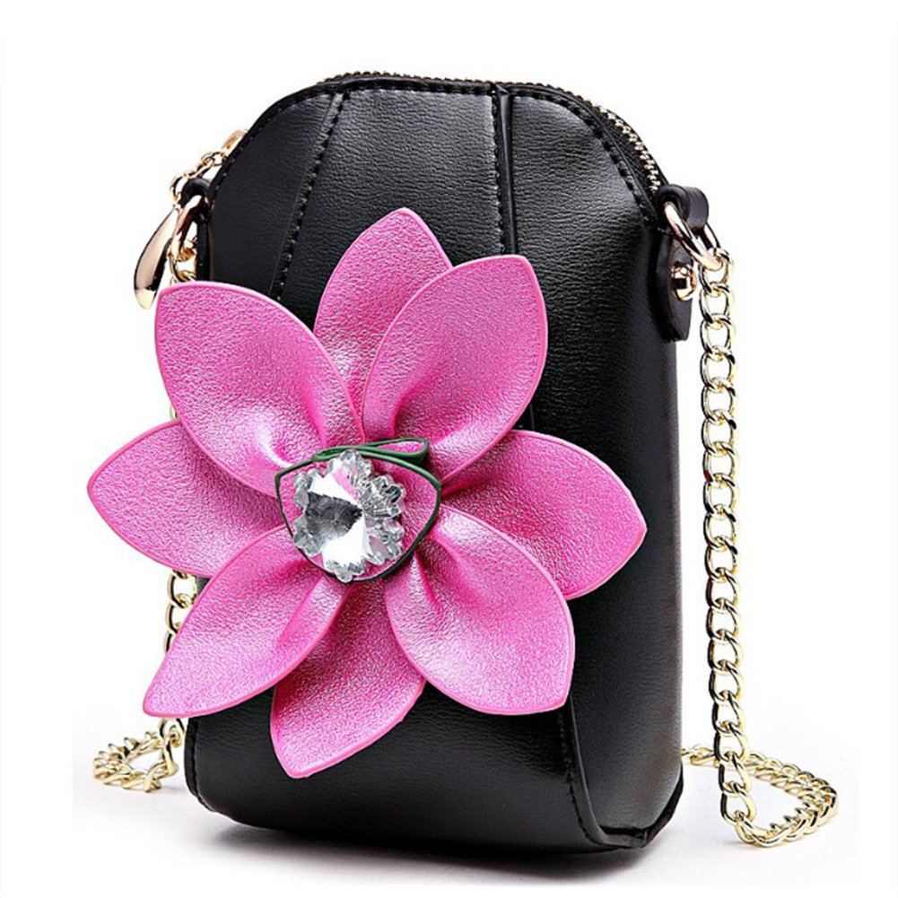 Eleoption Girls Wallet Coin Purse Super Cute With 3D Flower Crossbody Handbag Pu Leather Small Messenger Bag Satchel for Women Teen Girls Little Kid Girls as Gift (Black)