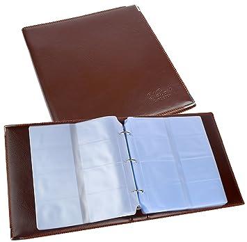 Archivador para tarjetas de visita para tarjeta de visita (480 Tarjetas marrón Tarjetas de Visita/Almacenamiento álbum de piel sintética con bordes de ...