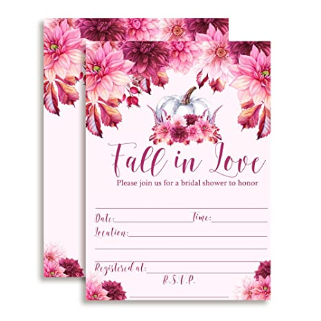 Amazon fall in love pink pumpkin dahlia bridal shower fall in love pink pumpkin dahlia bridal shower invitations 20 5quotx7quot filmwisefo