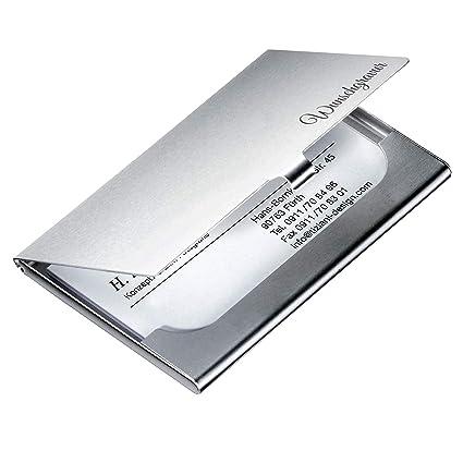 Visitenkartenetui Mit Gravur Kartenetui Aus Hochwertigem Aluminium Mit Klickverschluss Visitenkartenhalter Personalisiert Geschenke Mit Gravur