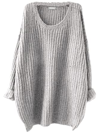 Milumia Women s Drop Shoulder Textured Roll-Up Loose Knit Sweater Small Grey df4318a58