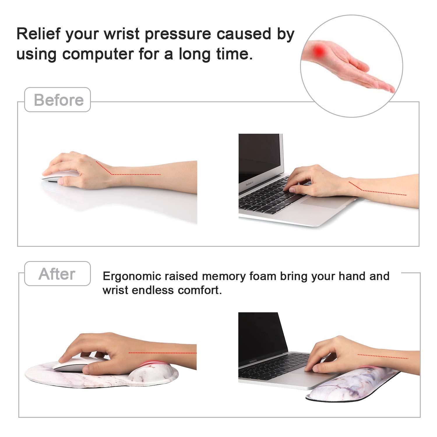 Gaming Pink Ergonomic Keyboard and Mouse Wrist Support Wrist Rest Mouse Mat Memory Foam Mouse Pad with Wrist Support Keyboard Wrist Support for Working Yizhet Keyboard Wrist Rest Pad