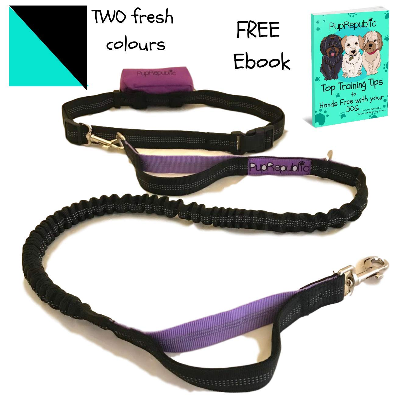 Purple PupRepublic Hands Free Dog Lead for Running Walking Hiking.Adjustable Waist Belt,Reflective Bungee Lead FREE Poo Bag Pouch