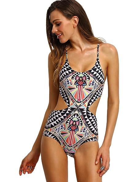 e6e1bf9773 SweatyRocks Tribal Print Cutout Swimwear Lace-Up Swimsuit One-Piece  Crisscross