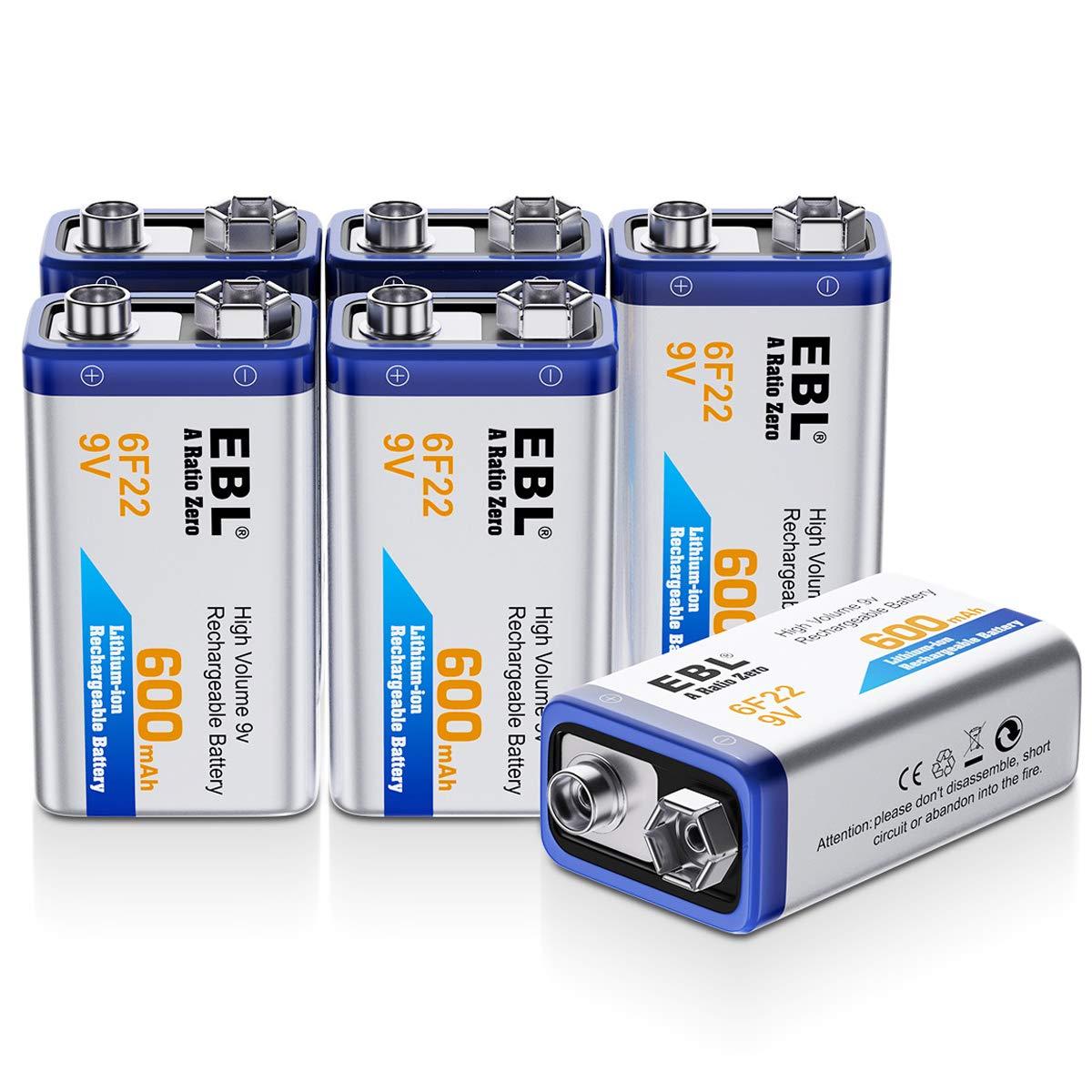 EBL 9 Volt 600mAh Li-ion Rechargeable 9V Batteries Lithium-ion, 6 Pack by EBL