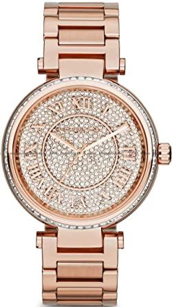 b783e5534693 Image Unavailable. Image not available for. Color  Michael Kors MK5868  Skylar Rose Goldtone Stainless Steel Two-Hand Bracelet Rose Gold Watch