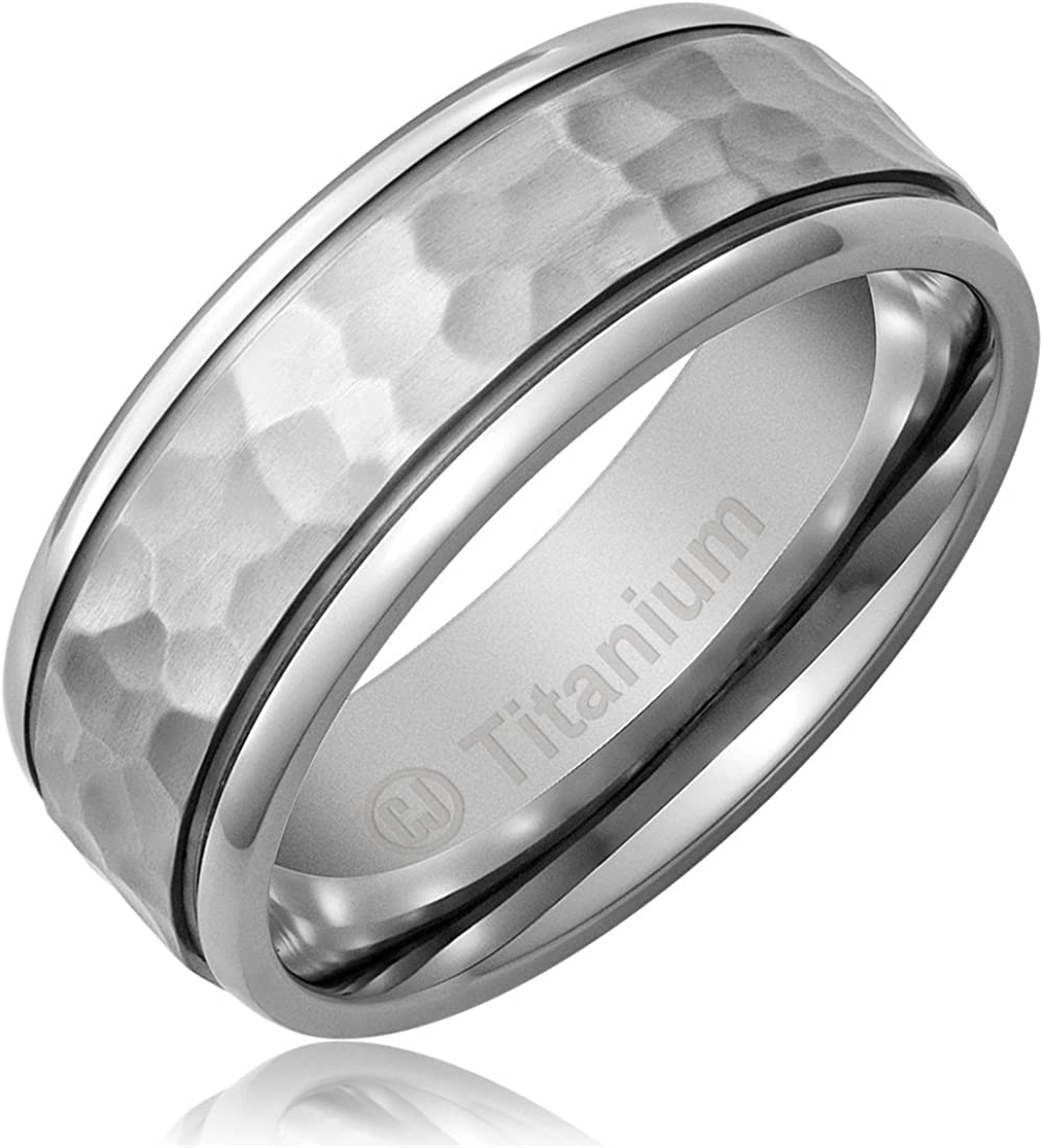 Cavalier Jewelers 8MM Men's Titanium Ring Wedding Band | Hammered Finish