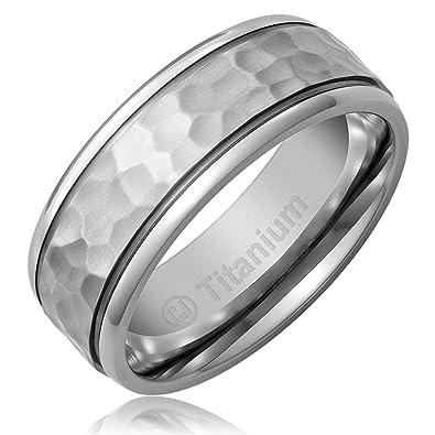 Platinum Wedding Bands For Men.Cavalier Jewelers 8mm Men S Titanium Ring Wedding Band Hammered Finish