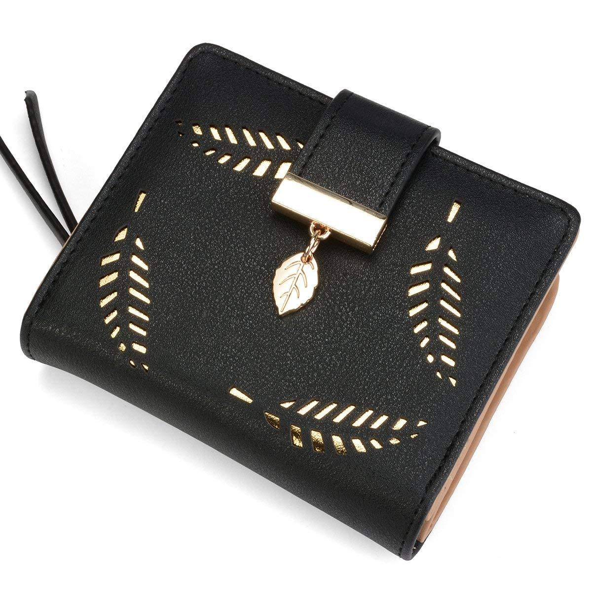 PARADOX (LABEL) Girls Leaf Bi-fold Card Holder Womens Purse Clutch Wallet  (Black)  Amazon.in  Shoes   Handbags a94046fce7