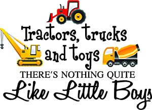 "30""x23"" Large - Tractors, Trucks, and Toys There's Nothing Quite Like Little Boys (Printed Truck Set) Cute Inspirational Home Vinyl Wall Decals Sayings Art Lettering"