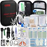 Monoki First Aid Kit Survival Kit, 241Pcs Upgraded Outdoor Emergency Survival Kit Gear - Medical Supplies Trauma Bag…