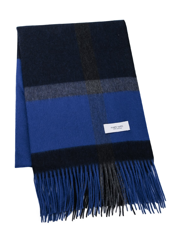 Blue X Black 100% Cashmere Plaid Shawl Stole Women Gift Scarves Wrap Blanket B1414B1-14