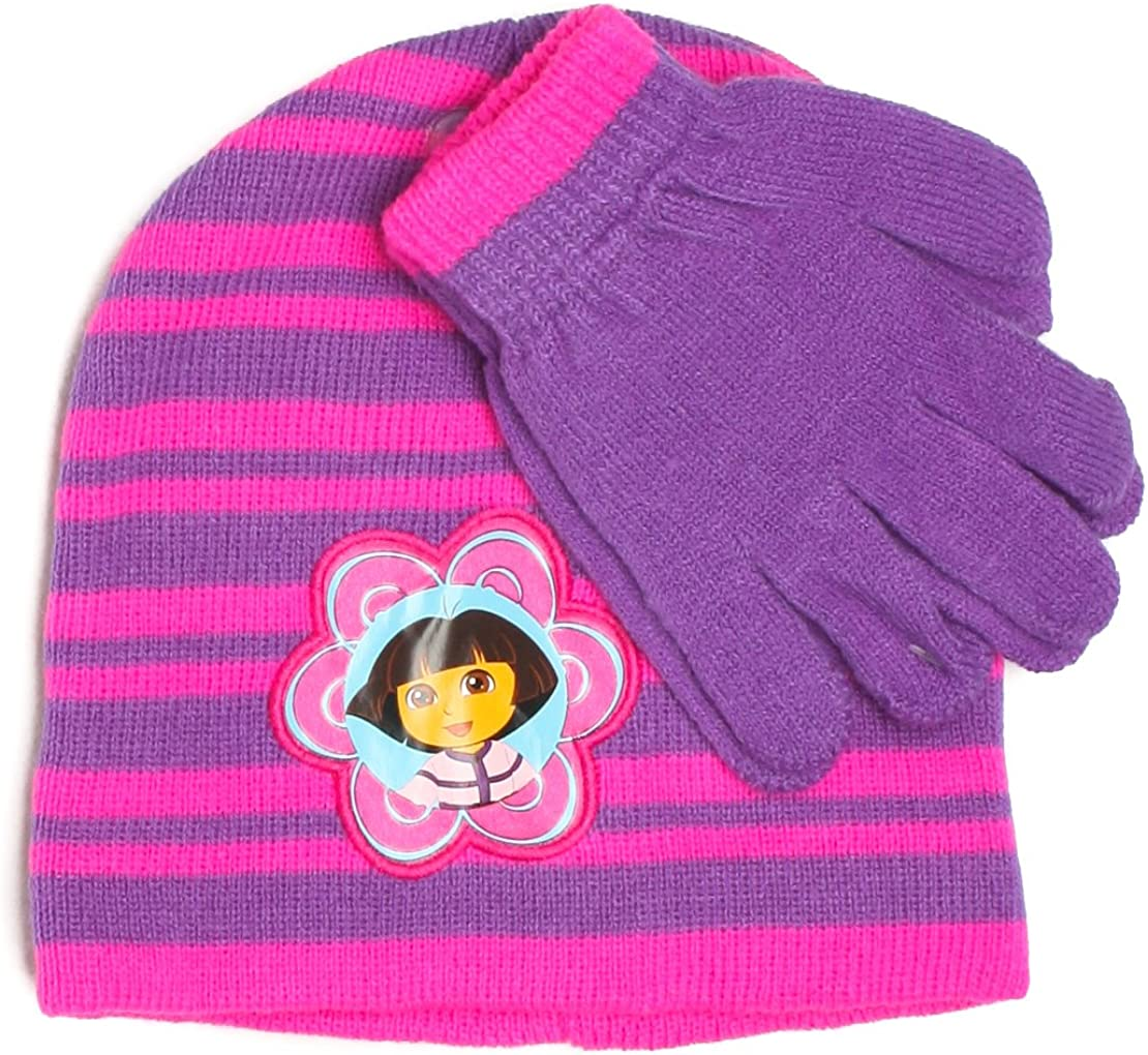 Toddler Girls Dora the Explorer Knit Beanie /& Mittens Set BRAND NEW W TAGS
