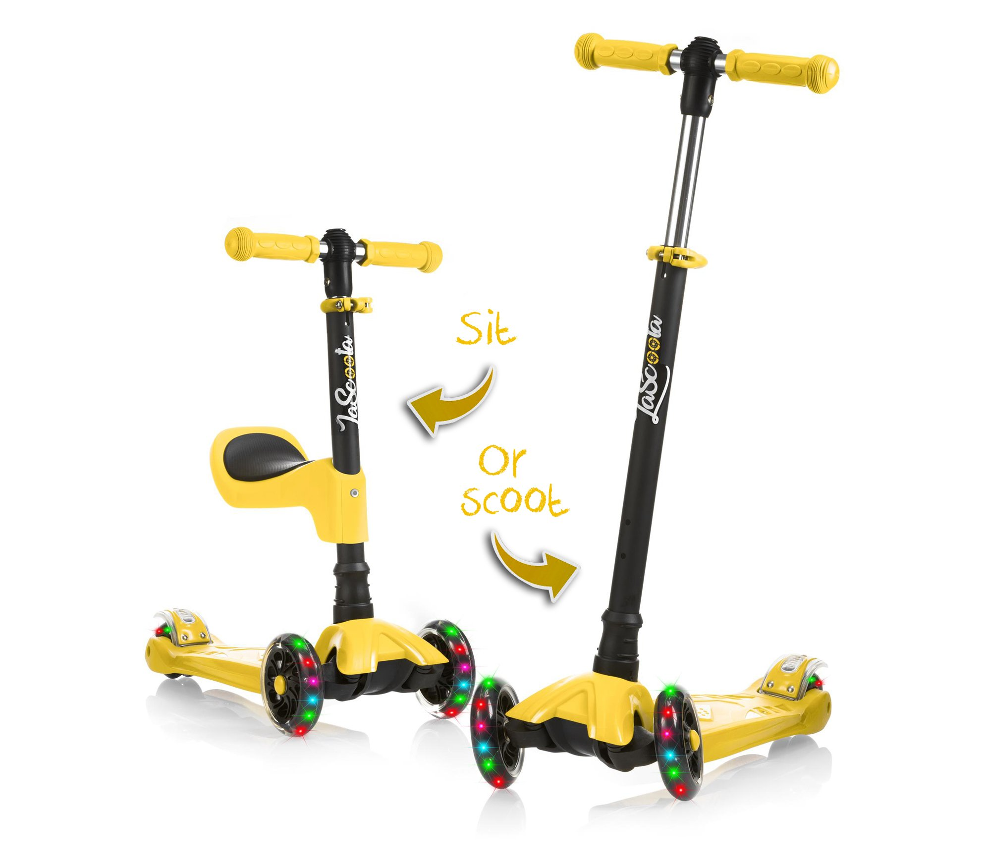 LaScoota 2-in-1 Kick Scooter with Removable Seat Great for Kids & Toddlers Girls or Boys – Adjustable Height w/Extra-Wide Deck PU Flashing Wheels for Children from 2 to 14 Year-Old (Yellow)