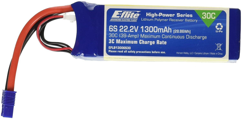 E - flite 1300 mAh 6s 22.2 V 30 C LiPo 13 AWG ec3バッテリー   B00UZEOVQU