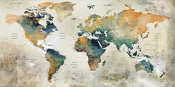 Amazon.com: WATERCOLOR MAP of the World Push pin map, Large Blue ...