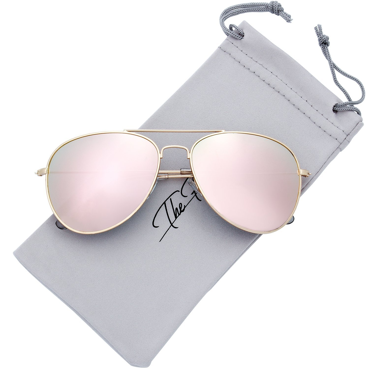 The Fresh Classic Large Metal Frame Mirror Lens Aviator Sunglasses with Gift Box (GOLD, PINK)
