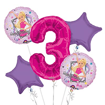 BarbieSparkle Happy Birthday Balloon Bouquet 5 pc, 3rd Birthday, | Viva Party Balloon Collection: Health & Personal Care