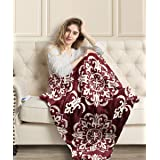 """MIZZEO Electric Heated Blanket Throw 50"""" x 60"""" Full Body Size Fast Heating Blankets 100% Polyester Velvet 10 Heating Levels 1"""