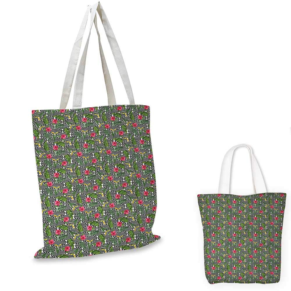 12x15-10 Banana Leaf canvas messenger bag Black and White Geometrical Backdrop with Hibiscus and Birds of Paradise Flower canvas beach bag Multicolor
