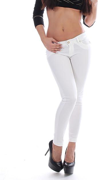 Mujer Cadera Vaqueros Tubos De Jeans Skinny Pantalones En Color Blanco Blanco 32 Amazon Es Ropa Y Accesorios