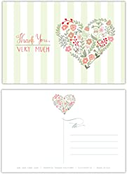 One Jade Lane - Heartful Thanks, Thank You cards POSTCARDS (Self-mailer) Postage Saver (Set 40 Cards).