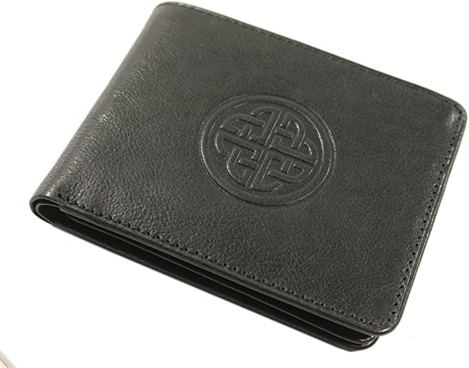 Claddagh Ring Mens Leather Wallet BLACK or BROWN Claddagh Gift