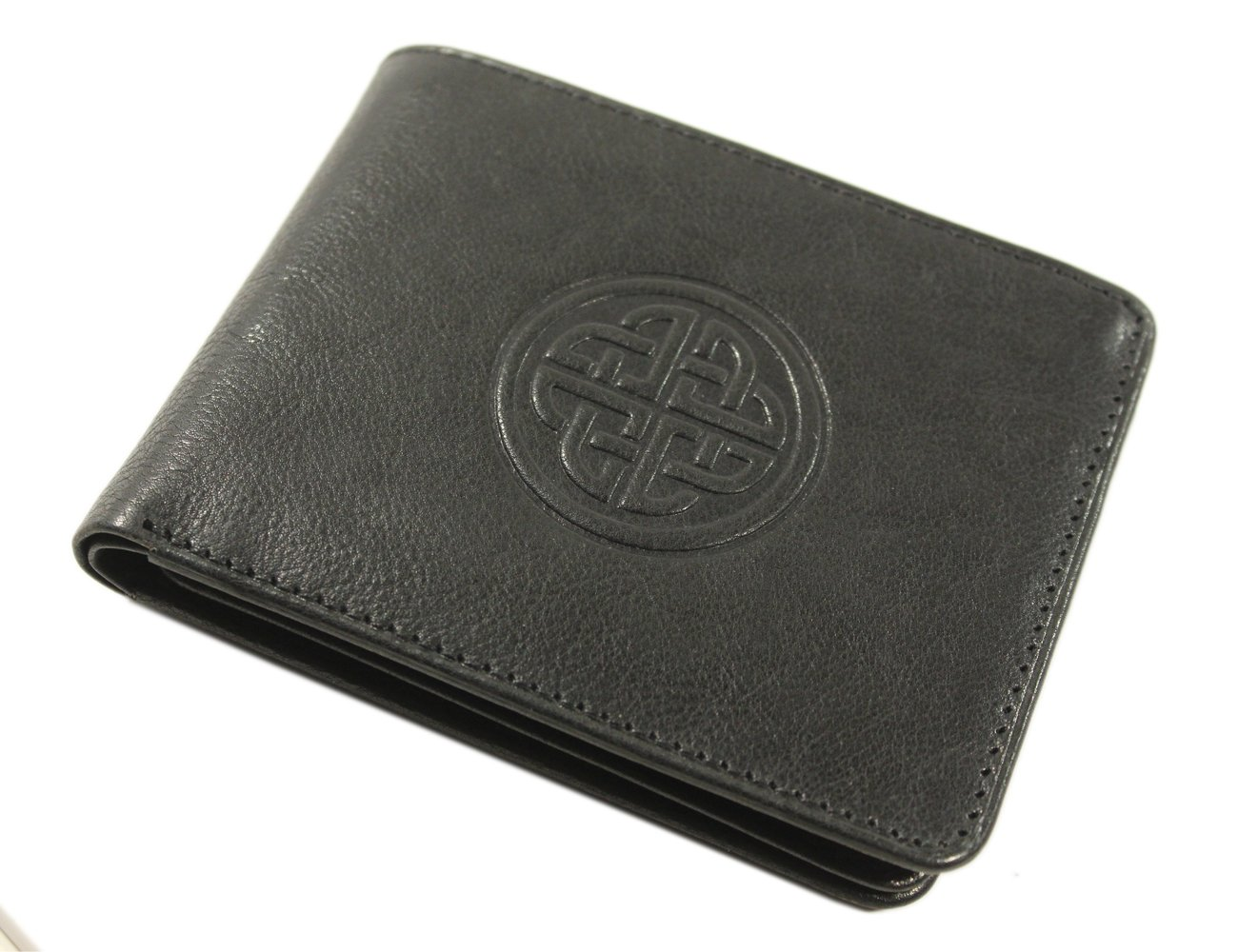 Lee River Leather Goods Irish Leather Wallet Vegetable Dyed Authentic Celtic Knot Design Black Made in Ireland