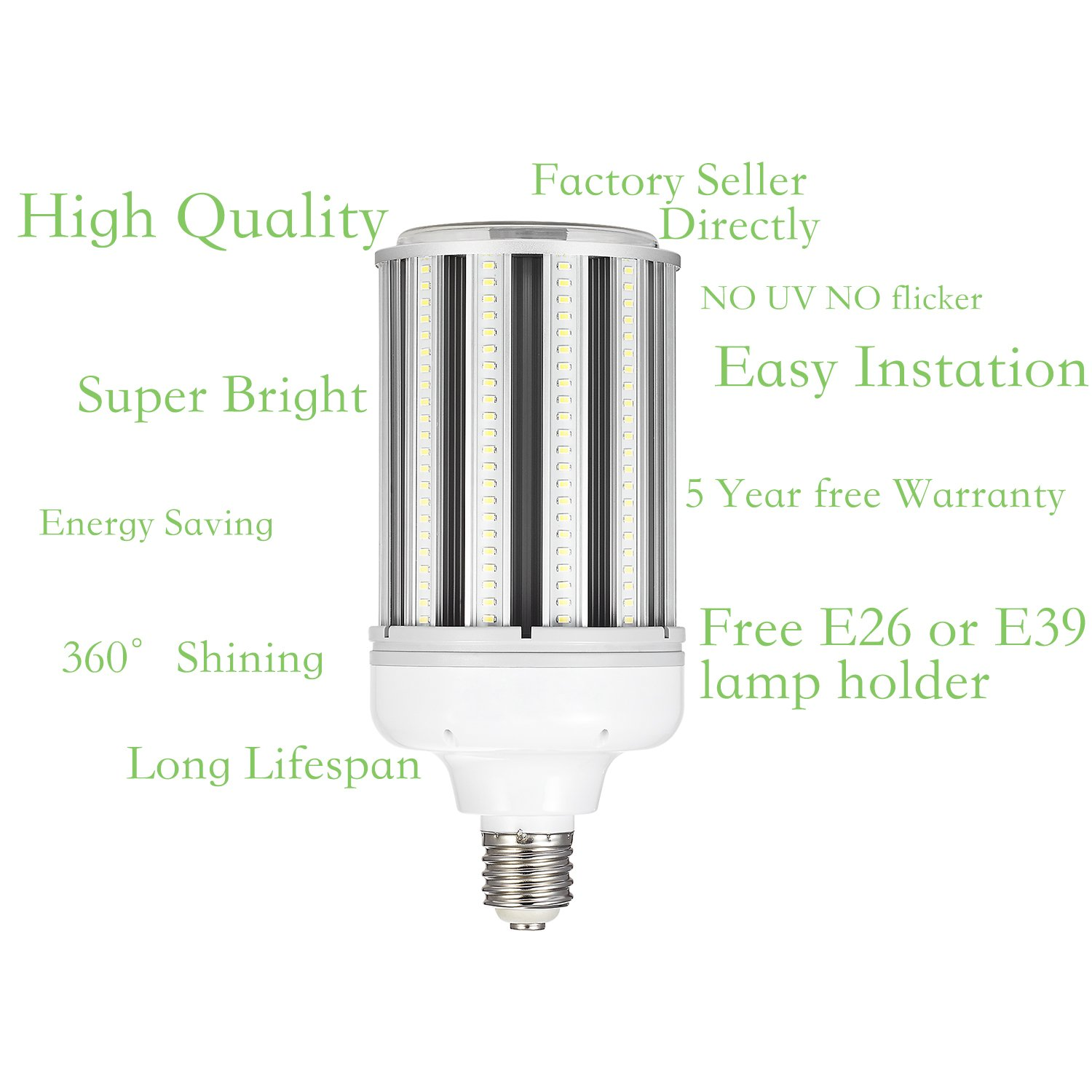 120w Led Corn cob Light Bulb E39 Base, 5000K 15600lm AC100-277V,CFL HID HPS Metal Halide(500w) Replacement for Street and Area Light Factory Warehouse High Bay Work Light Parking Lot Super by AINIYO (Image #3)