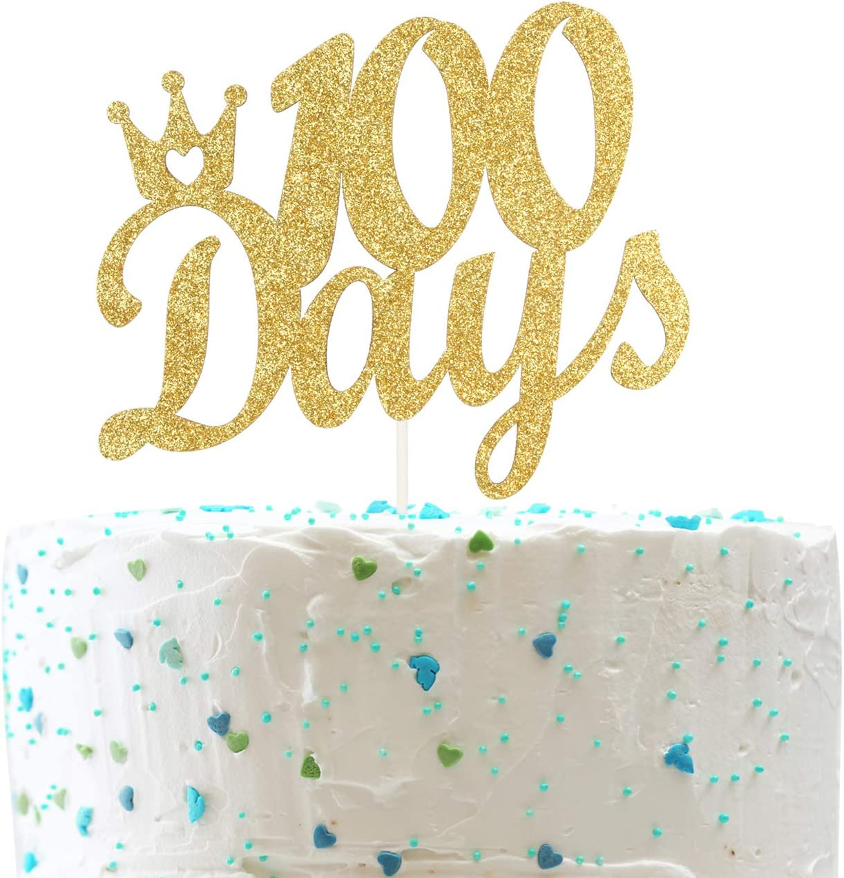 100 Days With Crown Cake Topper Baby S Happy 100 Days Sign 100 Days Celebration Party Decorations Double Sided Gold Glitter Amazon Ca Toys Games
