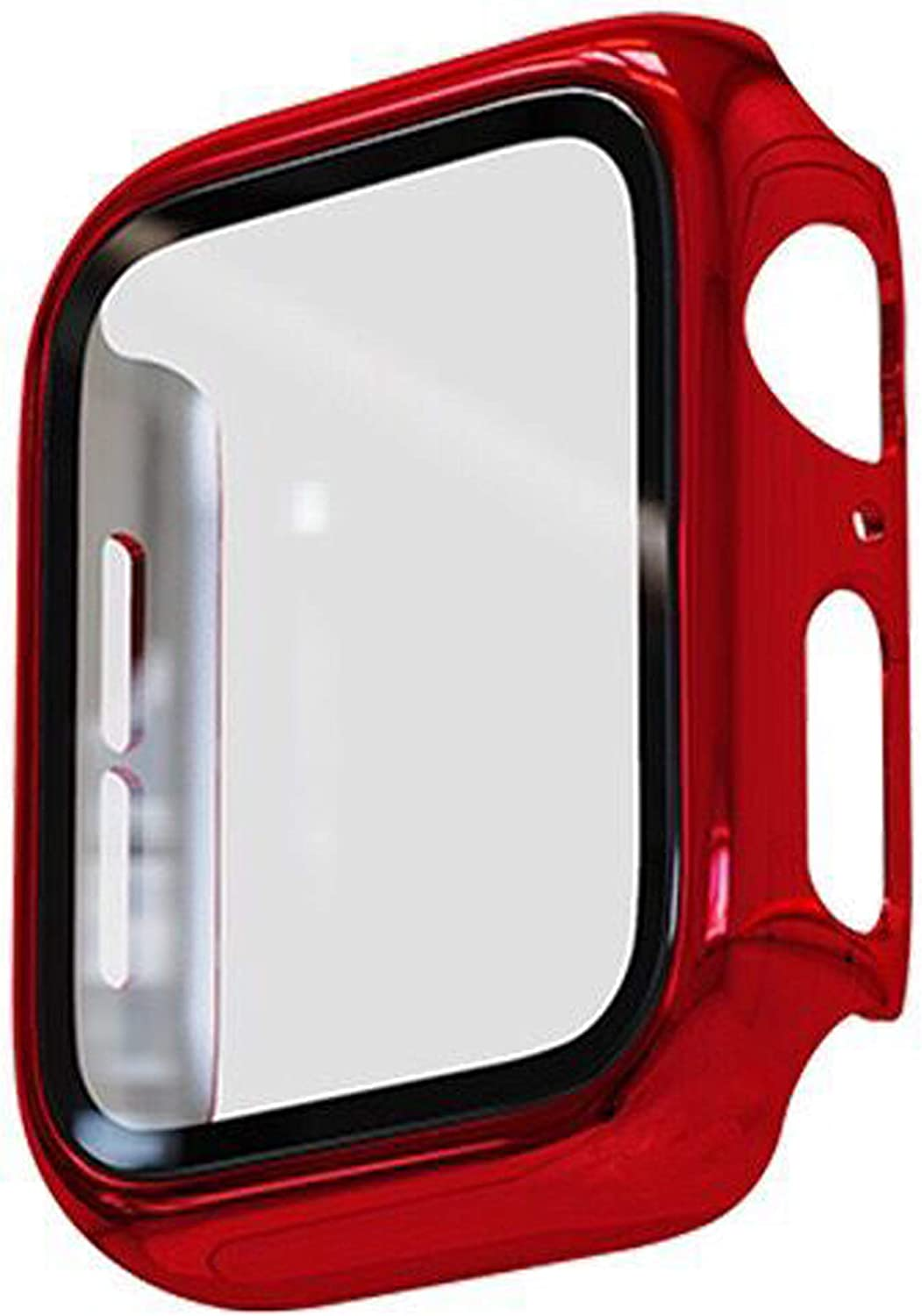 Cogift Red Hard Case Compatible with Apple Watch Series 6 SE Series 5 Series 4 40mm, Hard PC Case Slim Tempered Glass Screen Protector Overall Protective Cover for iwatch