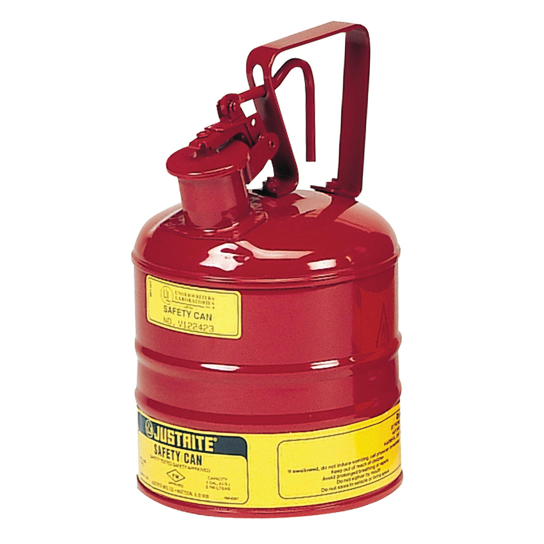 Justrite 10301 Type 1 Safety Can, Flammables, 1 Gal, Red