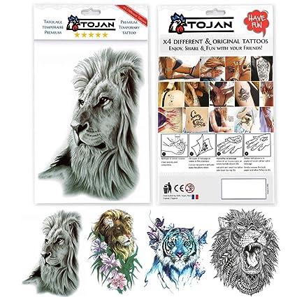 Tatouage Ephemere Animaux Pack De 4 Planches Differentes Tetes De
