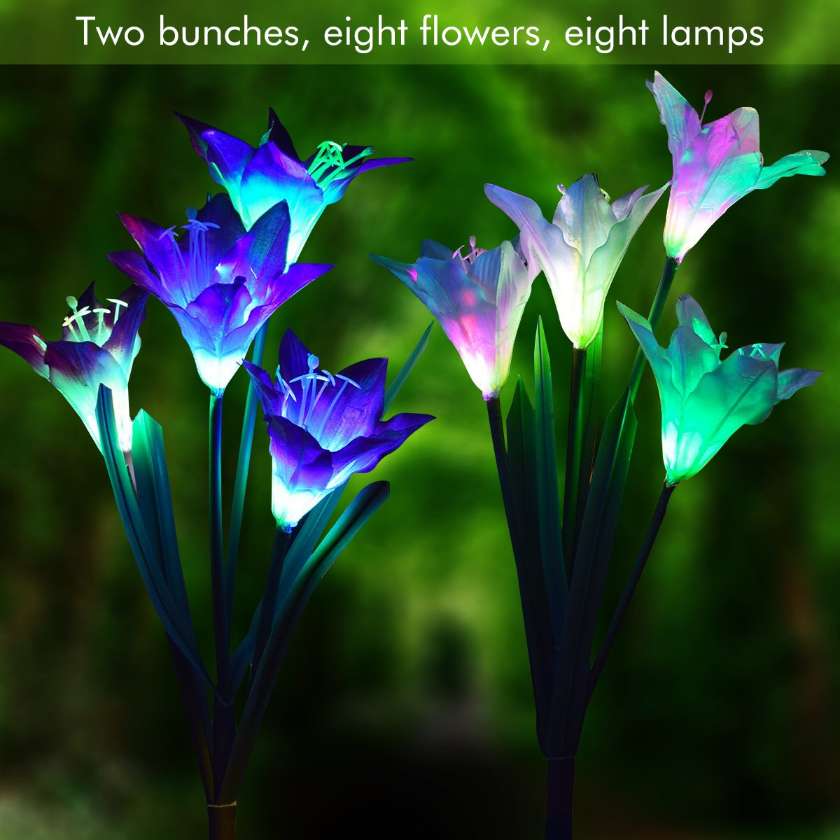 Padcod Outdoor Decorative Solar Garden Stake Lights 2 Pack Solar Powered Lights with 8-head Lily Flower, Multi-color Changing LED Lights for Garden, Patio, Backyard